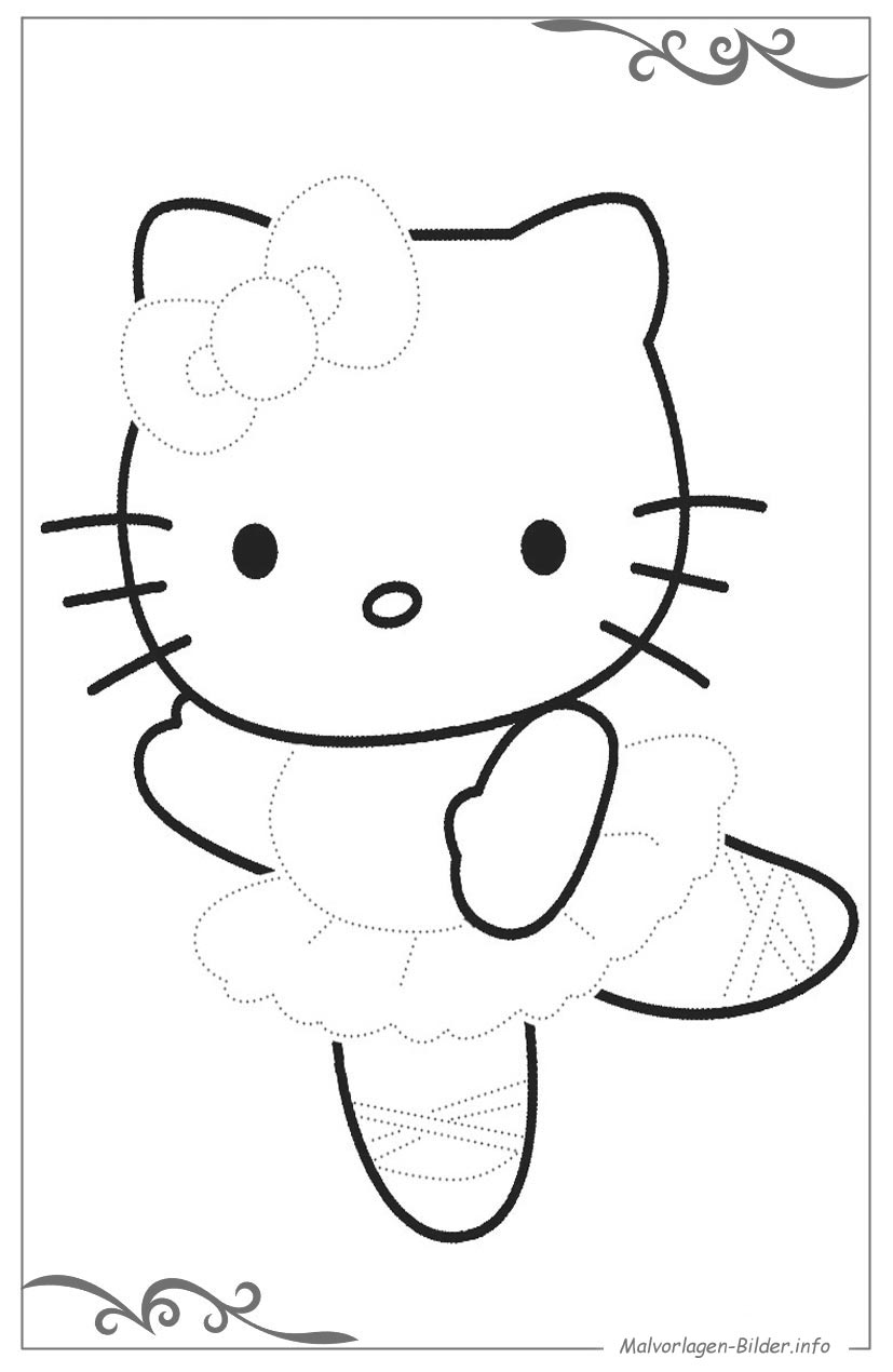 Hello Kitty Kostenlose Malvorlage Zum Download