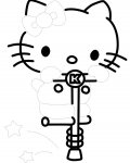 Hello Kitty als gratis ausmalbild