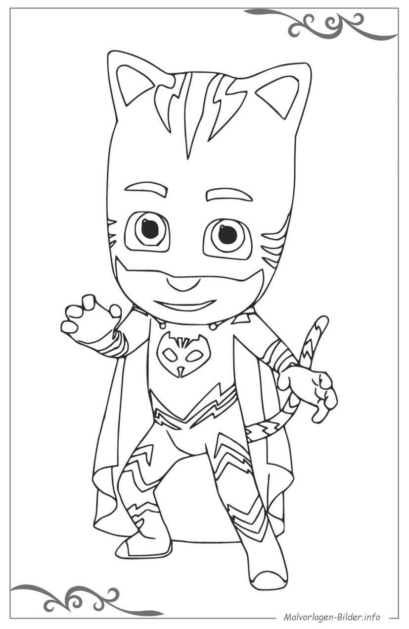 Pj Masks Pyjamahelden Ausmalbild Für Kinder Zum Gratis Download