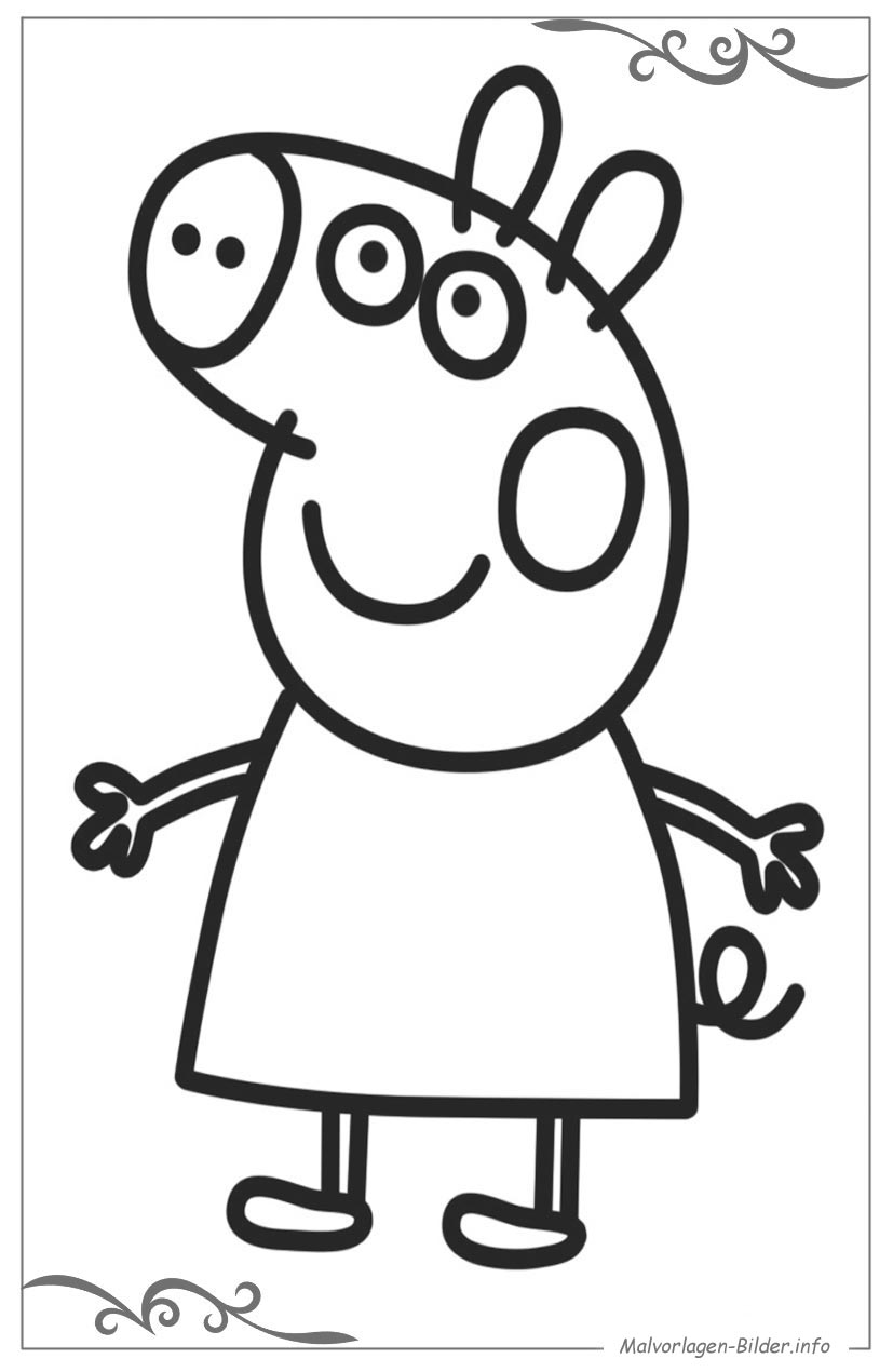 Peppa Wutz ausmalbild für kinder zum gratis download