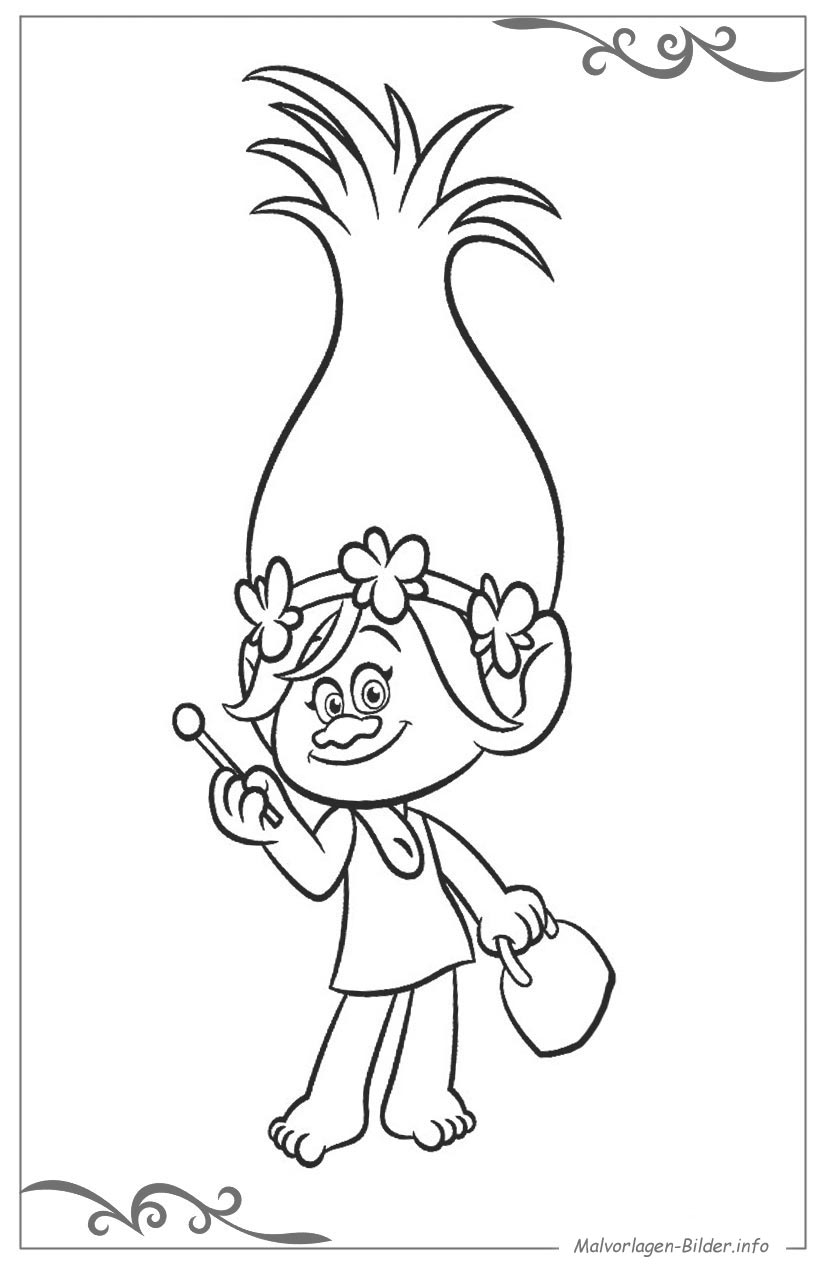 Pop Troll Coloring Pages